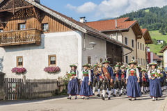 Maria Ascension procession Oberperfuss, Austria. OBERPERFUSS, AUSTRIA - AUG 15: Villagers dressed in their finest traditional costumes during Maria Ascension Royalty Free Stock Photos