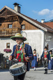 Maria Ascension procession Oberperfuss, Austria. OBERPERFUSS, AUSTRIA - AUG 15: Villagers dressed in their finest traditional costumes during Maria Ascension Royalty Free Stock Photo