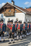 Maria Ascension procession Oberperfuss, Austria. OBERPERFUSS, AUSTRIA - AUG 15: Villagers dressed in their finest traditional costumes during Maria Ascension Stock Photo