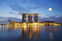 Maria Bay Sands, Singapore. Full moon view of Maria Bay Sands, famous hotel and resort in the world royalty free stock image