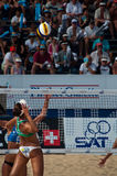 Maria Clara Salgado finishes point Phuket 2010. Photo could be used to cover story about recent event in Phuket http://www.fivb.ch/EN/BeachVolleyball/ Stock Photography