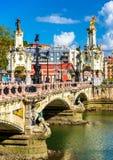 Maria Cristina Bridge over the Urumea river in San Sebastian, Spain Royalty Free Stock Photo