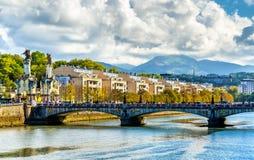 Maria Cristina Bridge over the Urumea river in San Sebastian, Spain Royalty Free Stock Photography