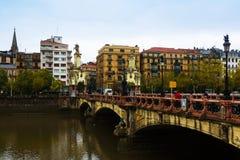 Maria Cristina bridge over Urumea river Stock Photos