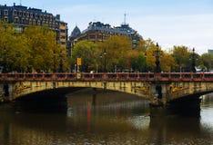 Maria Cristina bridge over Urumea river Royalty Free Stock Images