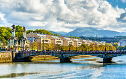 Maria Cristina most nad Urumea rzeką w San Sebastian, Hiszpania fotografia royalty free