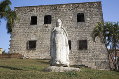 Maria de Toledo Plaza de Espana från Alcazar de Kolon (Palacio de Diego Colon) domingo santo Dominikanska republiken Arkivbilder