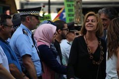 Maria Dolores de Cospedal at manifestation against terrorism Royalty Free Stock Photos
