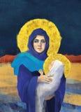 Maria e Jesus Christmas Illustration Fotografie Stock Libere da Diritti