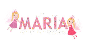 Maria female name with cute fairy tale. Background Royalty Free Stock Image