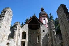Maria help chapel in south germany. Maria chapel ruin in Muehlheim at Danube near tuttlingen in south germany Stock Photo