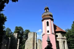 Maria help chapel in south germany. Maria chapel ruin in Muehlheim at Danube near tuttlingen in south germany Royalty Free Stock Photos