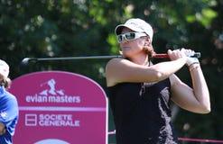 Maria Hjort bij golf Evian beheerst 2012 Stock Foto's