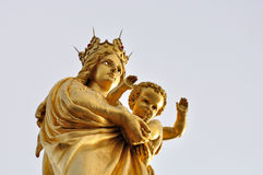 Maria and Jesus. Statue standing on the tower of Notre Dame de la Garde, Marseille Stock Photography
