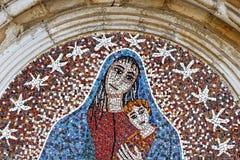 Maria Jesus Kid Mosaic buiten bij de kerk van Ceccano Italië royalty-vrije stock foto's