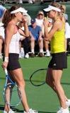Maria Kirilenko and Agnieszka Radwanska. At the 2010 BNP Paribas Open tennis tournament at Indian Wells, California Stock Image