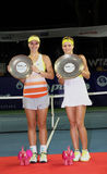 Maria Kirilenko of Russia(R) win over Sabine Lisicki of Germany Royalty Free Stock Image