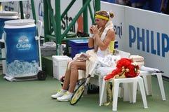 Maria Kirilenko von Russland-Gewinn über Sabine Lisicki von Deutschland Stockbild