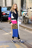 Maria-kolosova Streetstyle Modewochen-Herbstwinter 2015 2016 Mailands, Mailand Stockfotos