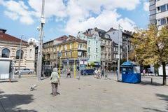 Maria Luiza-straat in het centrum van Sofia, Bulgarije royalty-vrije stock afbeelding