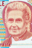Maria Montessori portrait from Italian money
