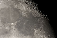 Maria on the moon. Detailed view taken using telescope of oceanus and maria on the moon Stock Images