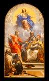 Maria obefläckad befruktning Isolerad konstnärlig målad freskomålning Tillgänglig PNG rome italy royaltyfria bilder