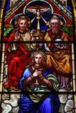 Maria oznaczony trójkowy szklany obraz stock