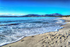 Maria Pia beach shoreline on a clear day in hdr stock photos