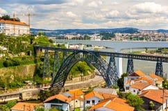 Maria Pia Bridge in Porto lizenzfreie stockfotos