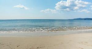 Maria Pia shoreline. Maria Pia beach shoreline on a clear day in Alghero, Sardinia stock photos