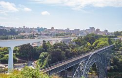 Maria Pia train Bridge by Gustave Eiffel at Porto Oporto Royalty Free Stock Image