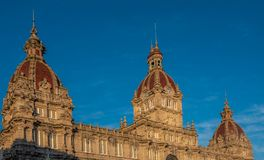 Maria Pita kwadrat, Coruna drugi - najwięcej ludnościowego miasta w Galicia, Północno-zachodni Hiszpania obrazy royalty free