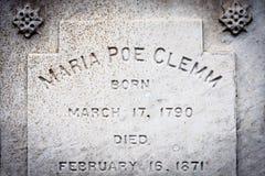 Maria Poe Clemm Gravestone Stock Photography