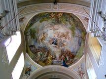Maria Radna Franciscan Monastery - Romania. Interior of Maria Radna Franciscan Monastery`Maria Radna`Monastery painted vault. Located in the city of Lipova, Arad stock photo