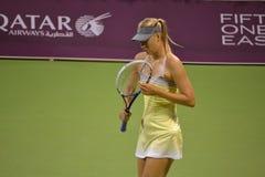 Maria Sharapova. DOHA-QATAR: FEBRUARY 12: Russian Tennis Player Maria Sharapova at Qatar Total Open on February 12, 2013 in Doha, Qatar. The event was held from Royalty Free Stock Image