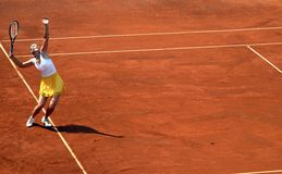 Maria Sharapova dient Stock Foto
