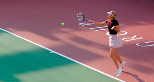 Maria Sharapova Forehand Return. Ed on a match on 2008 stock photo