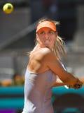 Maria Sharapova nell'azione durante il tennis di Madrid Mutua aperto Fotografie Stock