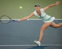 Maria Sharapova plays at the WTA Tour. STANFORD UNIVERSITY, CA - JULY 27: Maria Sharapova, Russia, plays at the Bank of the West Classic vs. Zheng Jie, China, on Stock Images