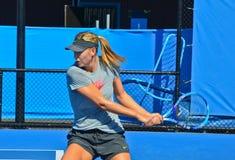 Maria Sharapova practicing Royalty Free Stock Image