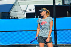Maria Sharapova practicing. MELBOURNE, AUSTRALIA - JANUARY 21: Maria Sharapova of Russia practicing in the practice court during day three of the 2015 Australian Royalty Free Stock Images
