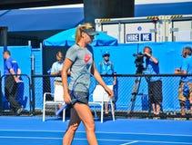 Maria Sharapova practicing Royalty Free Stock Photo