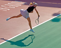 Maria Sharapova's Powerful Service. Maria Sharapova was serving on a match on 2008 Royalty Free Stock Images