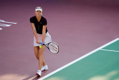 Maria Sharapova Serving The Game. Maria Sharapova Was Serving On a match on 2008 Stock Photography