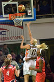 Maria Stepanova ataca UMMC Euroleague 2009-2010. Fotos de archivo libres de regalías