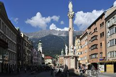 Maria-Theresa Street in Innsbruck. The historical town square on Maria-Theresa street in Innsbruck - Austria Royalty Free Stock Photography