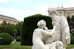 Maria-Theresia Platz, el Tritón y fuente de la náyade, Viena, Aus Imagen de archivo libre de regalías