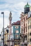 Maria Theresien Street and colorful building. Background, Innsbruck, Austria October 2017 Royalty Free Stock Photos