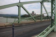Maria Valeria bridge and Esztergomi basilica from Slovak side, Danube river, Esztergom/Ostrihom. Slovakia royalty free stock image